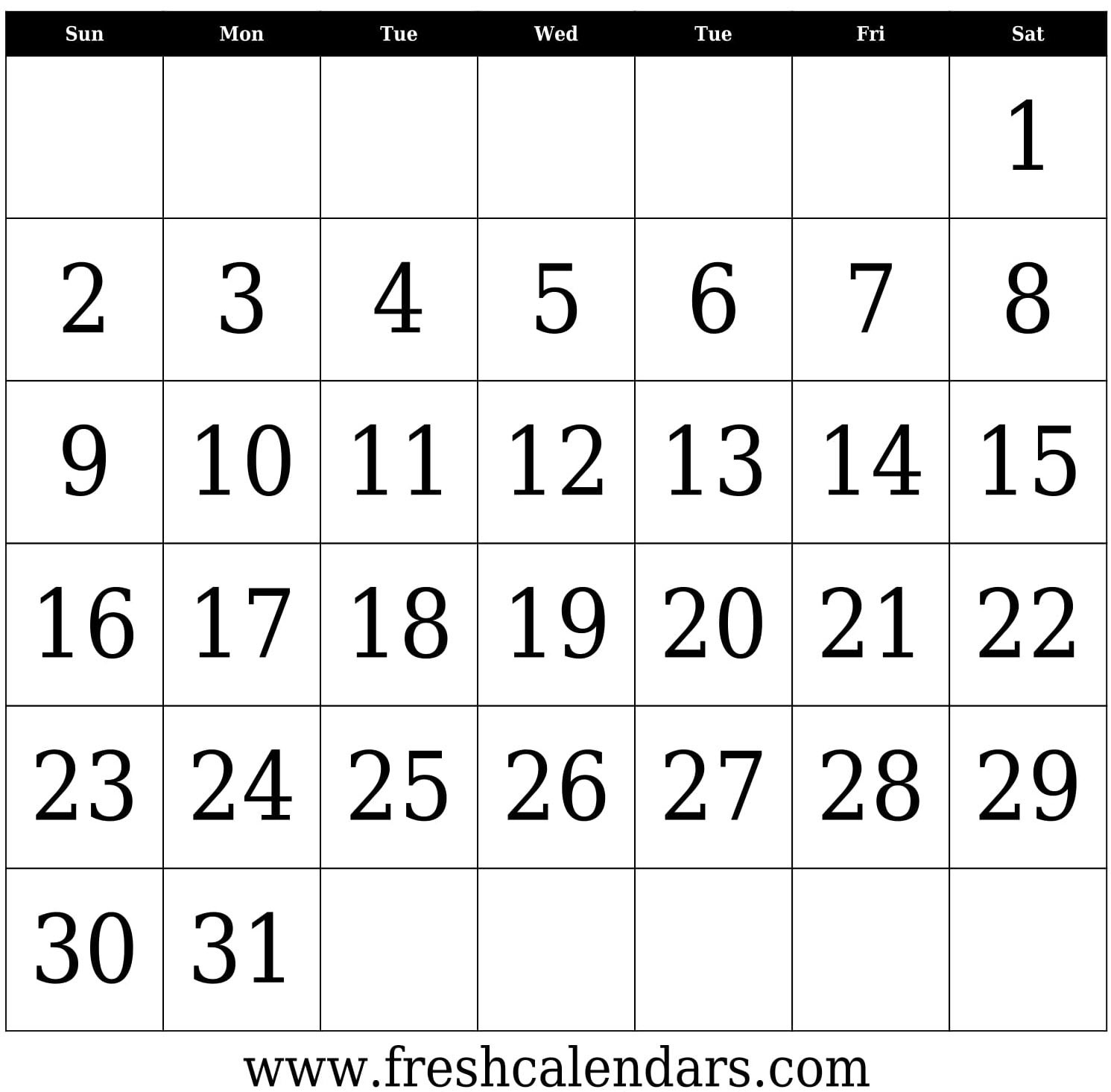 Blank Calendar: Wonderfully Printable 2019 Templates  31 Day Month Calendar Printable