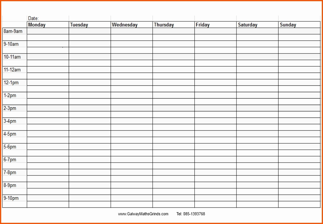 Blank Monthly Calendar With Times Template Time And Date Daily Slots  Blank Time And Date Calendar