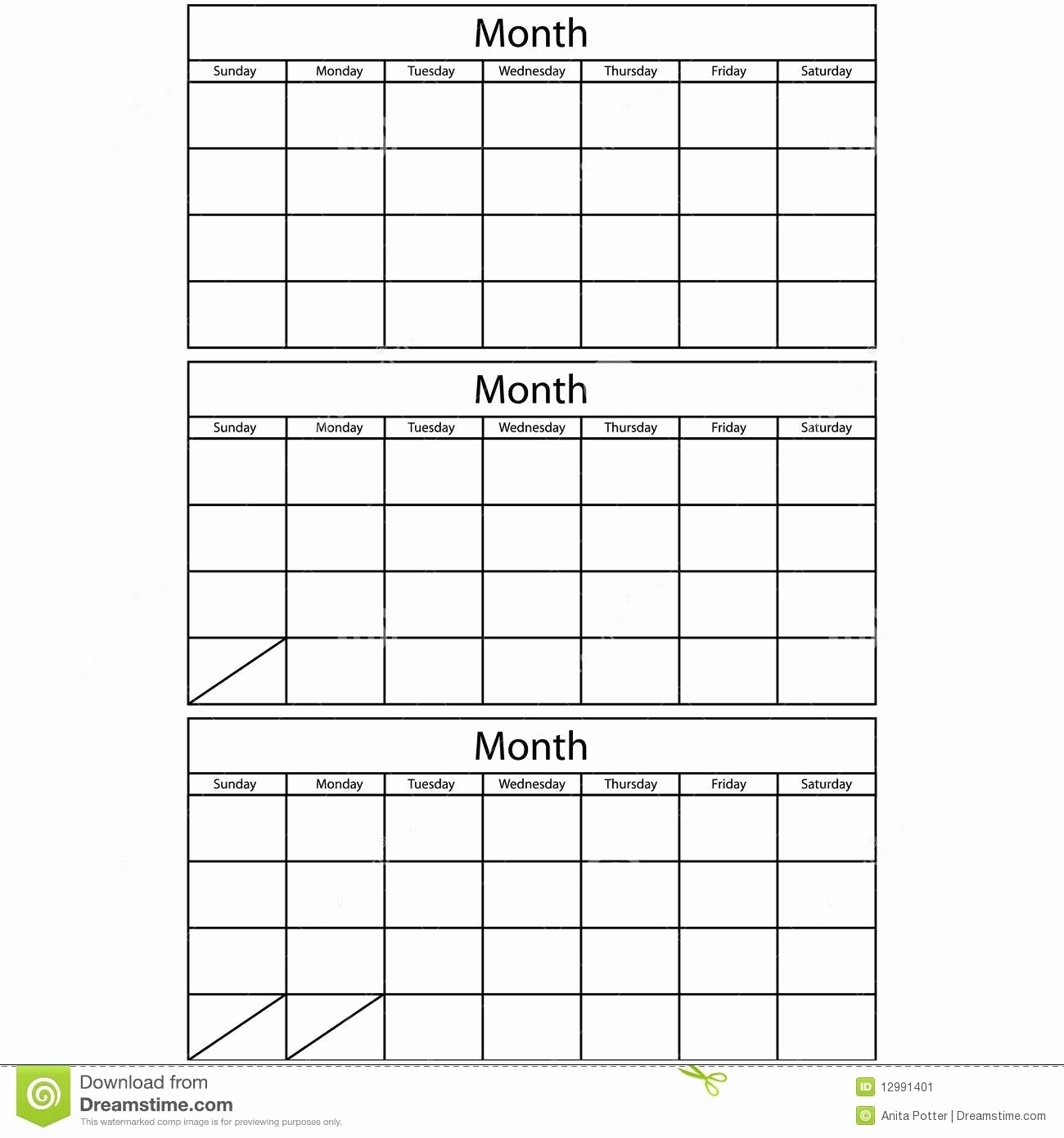 Blank Monthly Lanner Template Calendars To Rint Free Excel Download  3 Month Printable Calendar Template