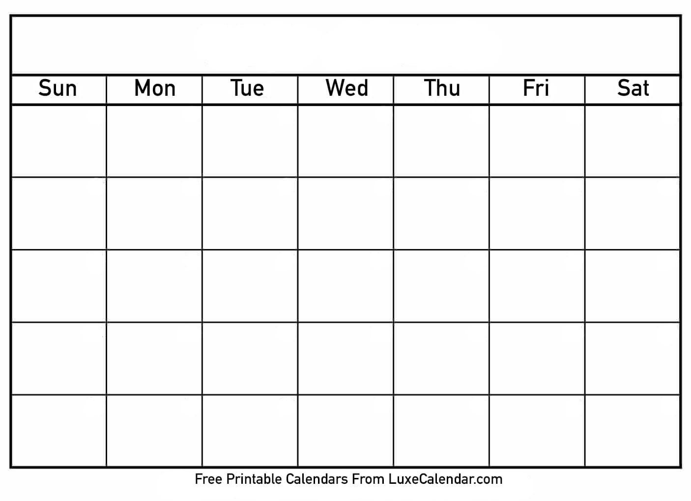 Blank Printable Calendar - Luxe Calendar  Free Printable Blank Calendars To Fill In