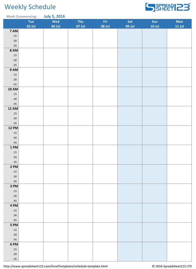 Blank Schedule With Times Free Printable Weekly Editable Calendar  Blank Schedule Sheet With Times