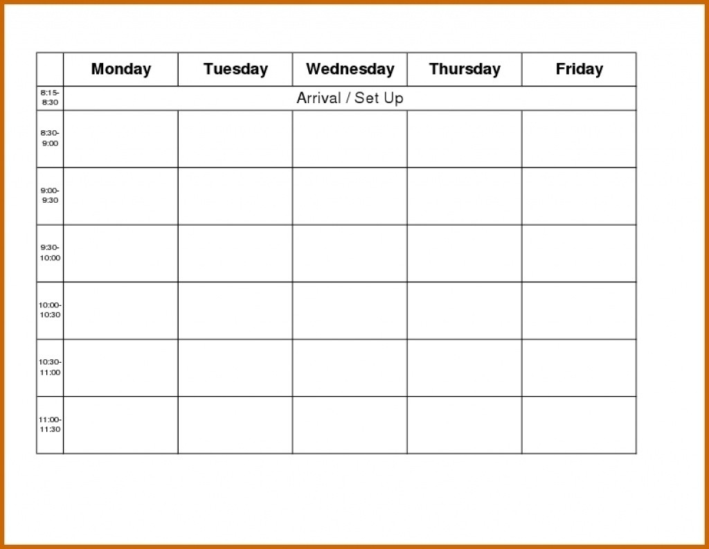 Blank Weekly Calendar Day Through Friday Sunday To Saturday Free  Monday Through Friday Calendar Template