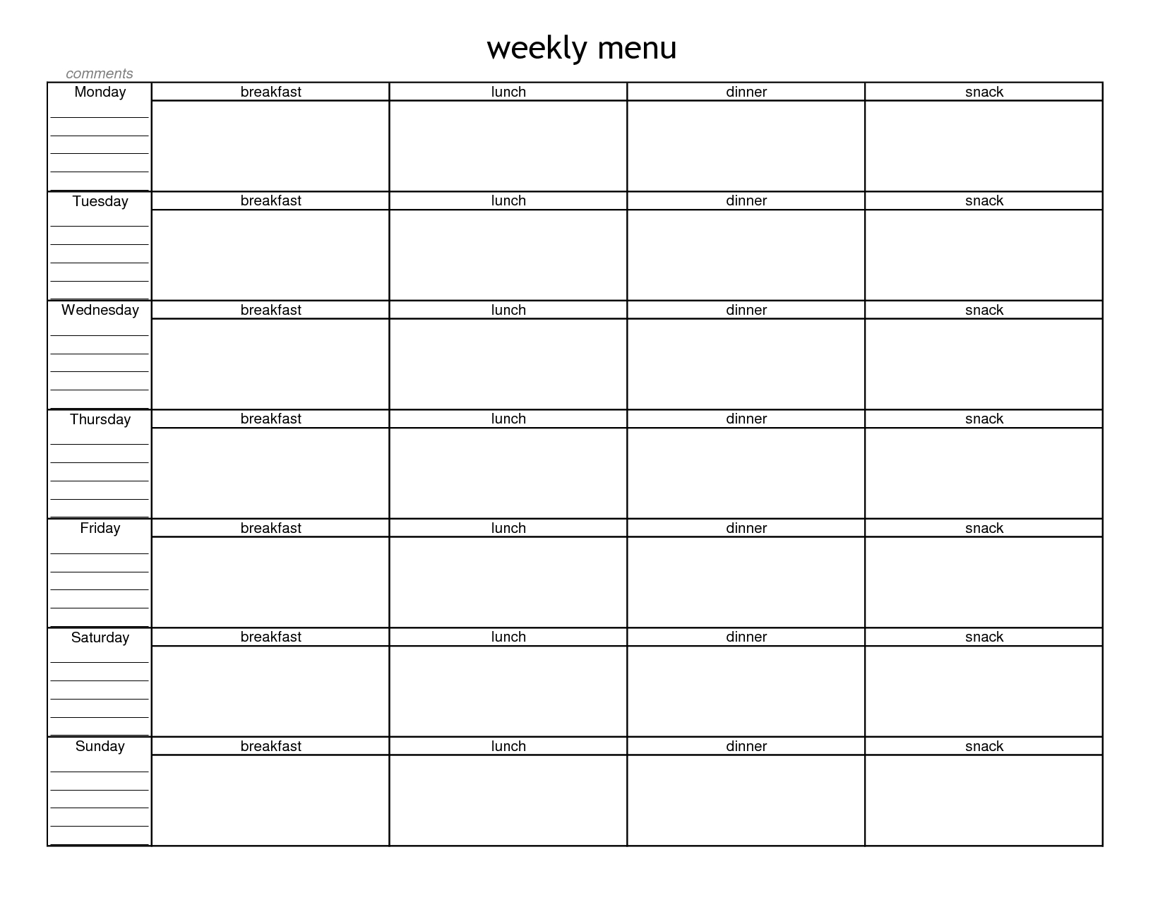 Blank Weekly Menu Planner Template | Menu Planning In 2019 | Menu  Calendar Weekly Menu Print Outs