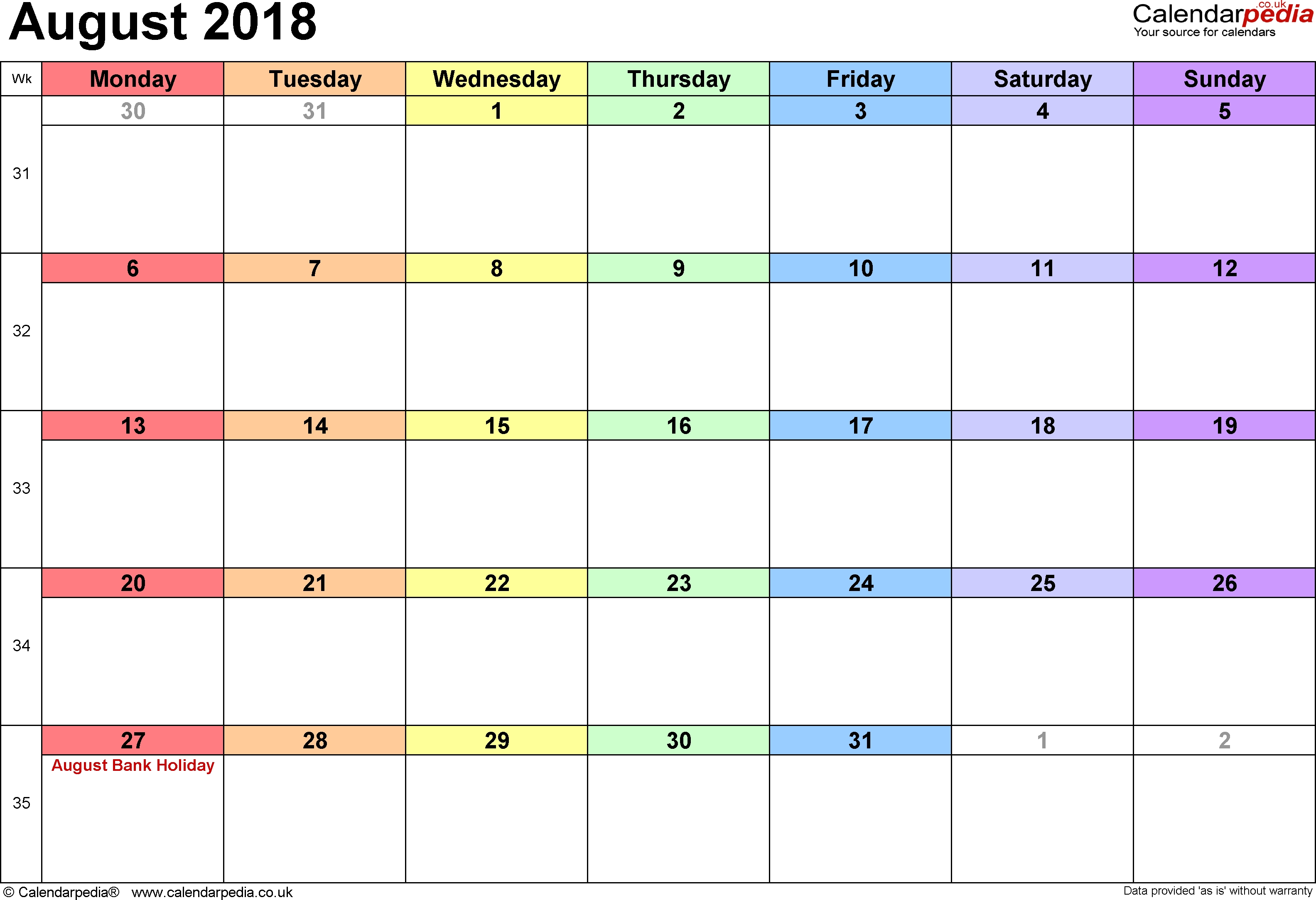 Calendar August 2018 Uk, Bank Holidays, Excel/pdf/word Templates  Calendar Blank Printable Monday Start A4