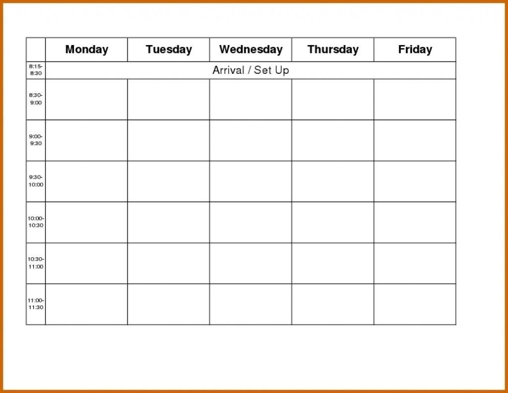 Calendar Monday Through Friday Schedule | Blank Calendar Template  Calendar Monday Through Friday Schedule
