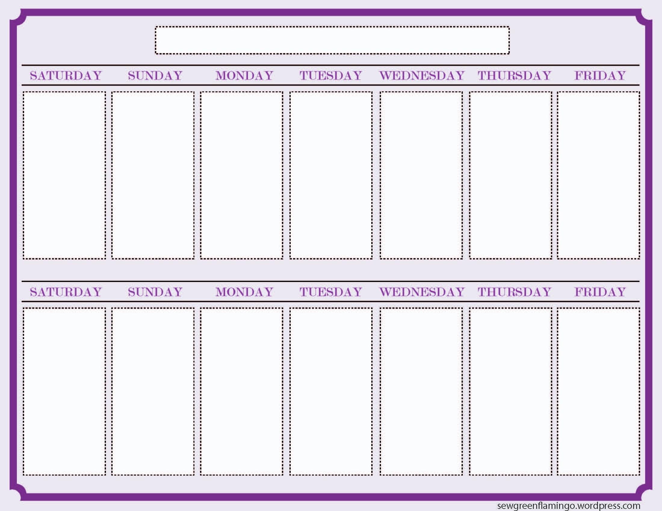 Calendar Template 2 Week Printable 2 Week Calendar Template 327607  Two Week Blank Calendar Template
