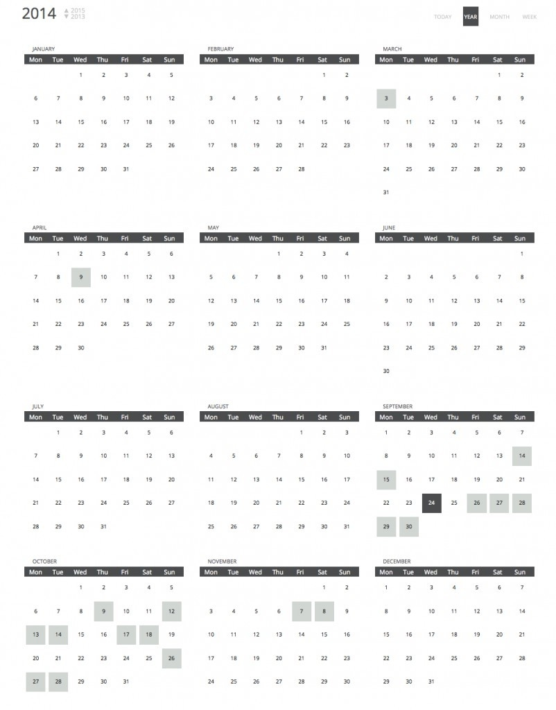 Calendar Views | Calendar Events | Chronosly  Year At A View Calendar