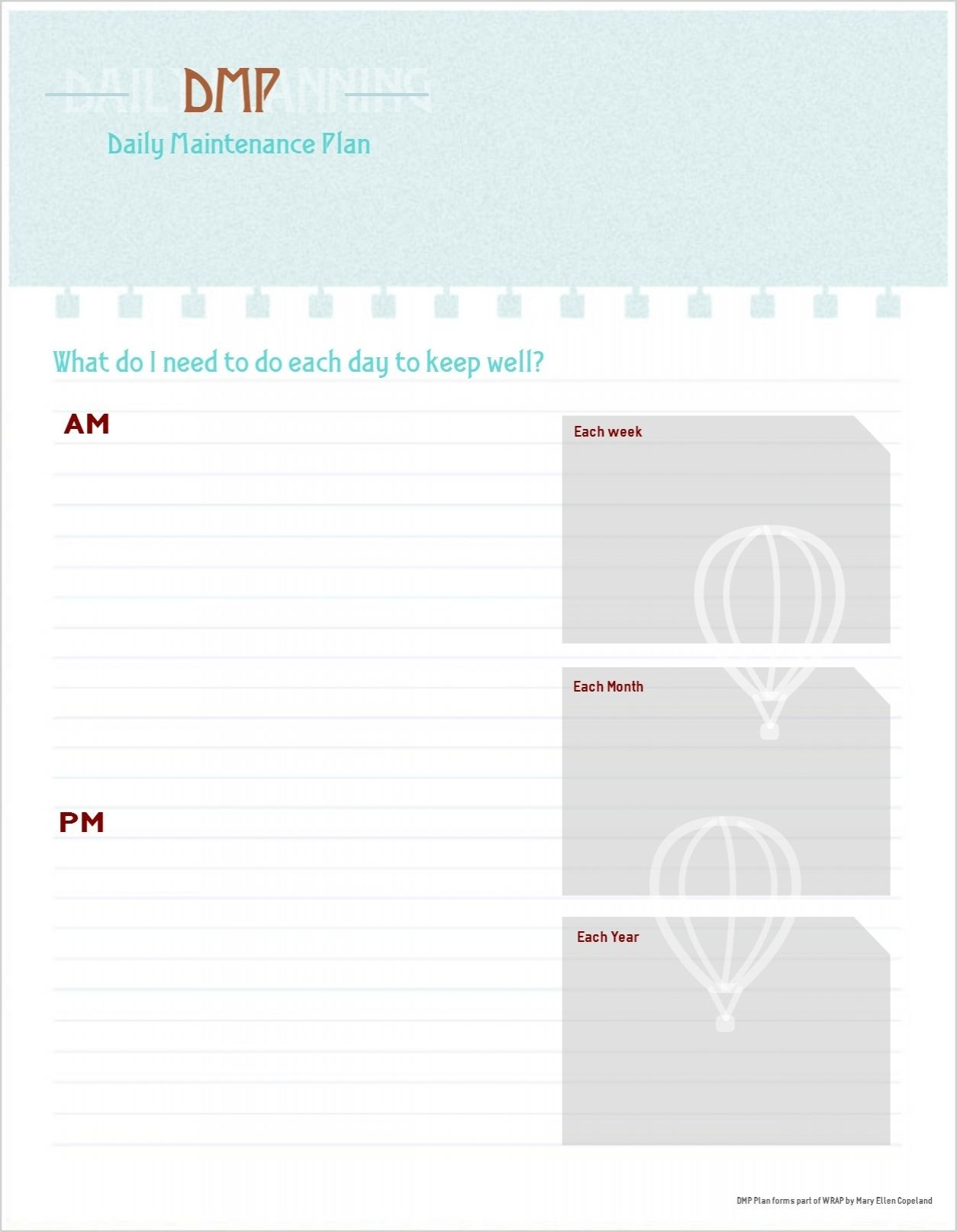 Daily Maintenance Plan Template- Free Printable. | Good Idea  Blank Weekly Calendar For Structured Recovery