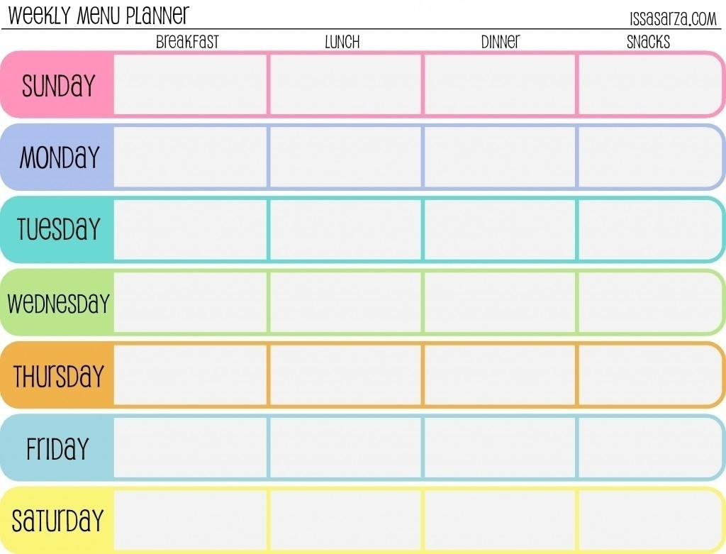 Days Week Planner Blank Calendar Template Weekly Day | Smorad  7 Days A Week Planner