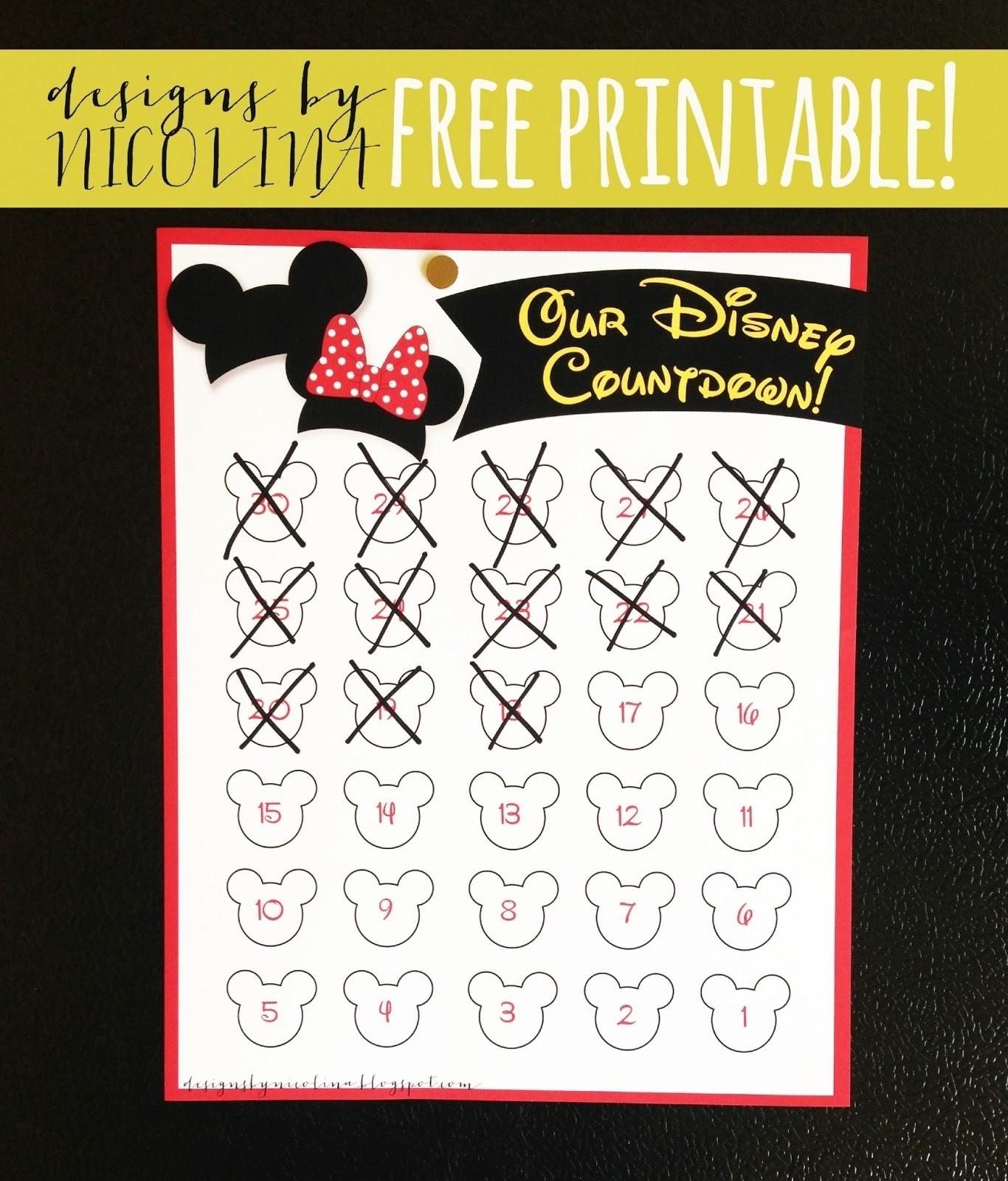 Designsnicolina: Disney Countdown! /// Free Printable /// Free  Free Printable Vacation Countdown Calendar