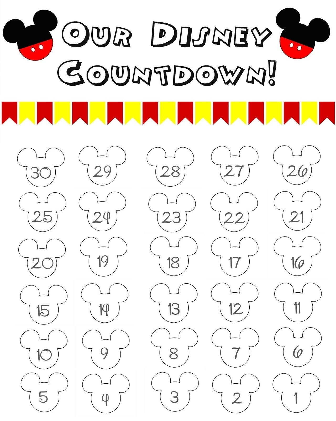 Disney World Countdown Calendar - Free Printable | The Momma Diaries  Free Printable Vacation Countdown Calendar
