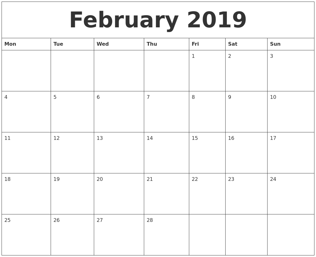 February 2019 Blank Monthly Calendar Template  Free Printable Calendar Templates Month