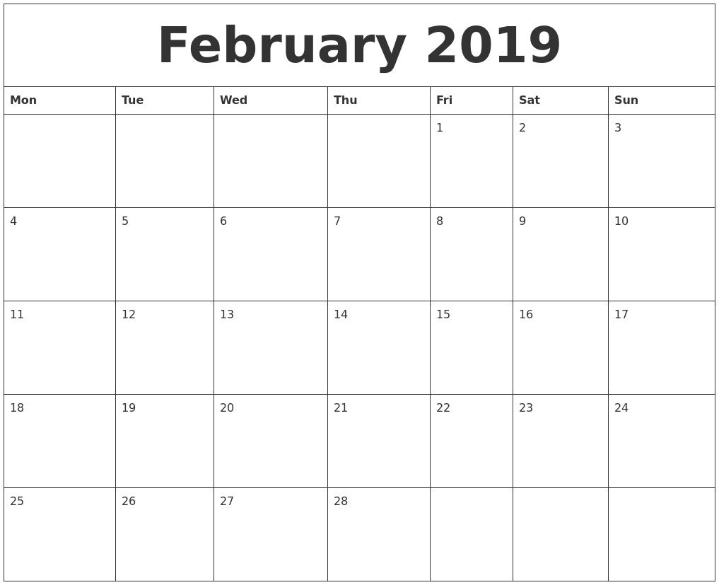 February 2019 Blank Monthly Calendar Template  Free Printable Calendar Templates Month