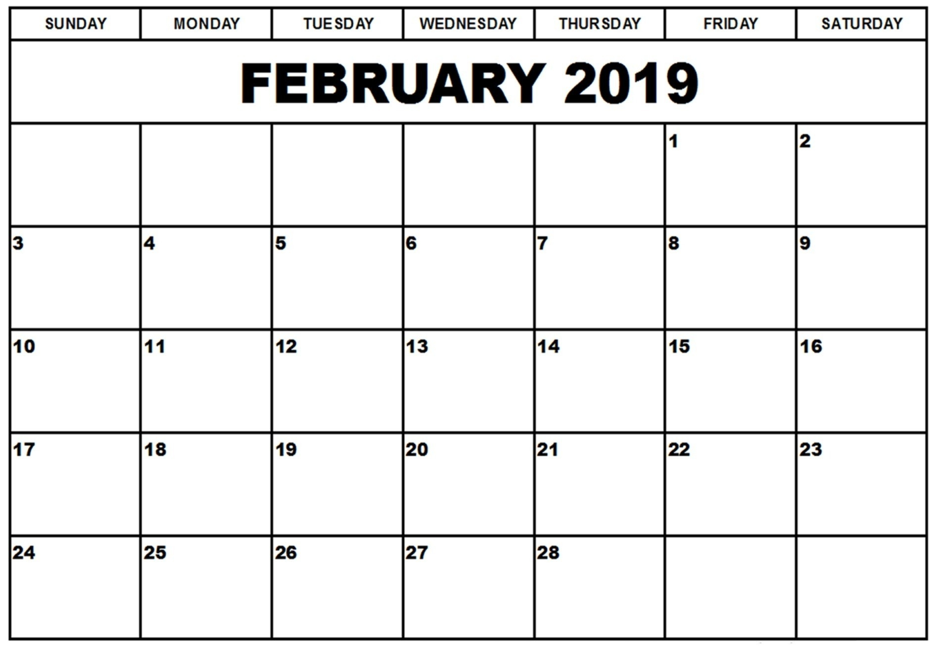 February 2019 Calendar Printable Templates | This Site Provides  Blank Time And Date Calendar