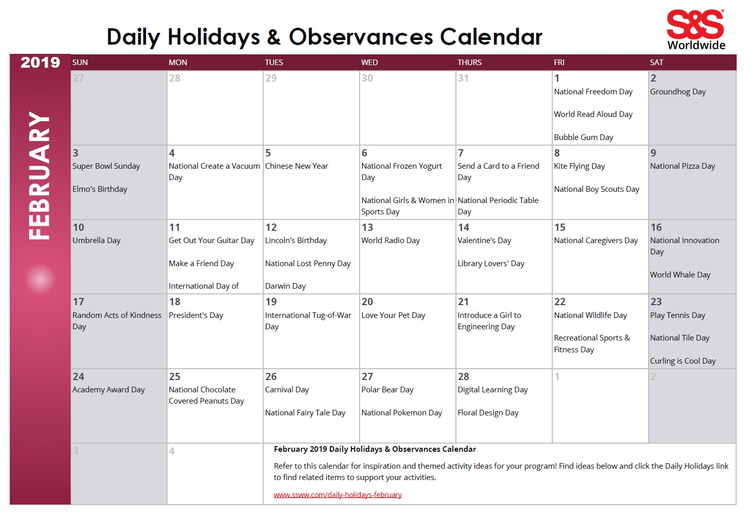 February Daily Holidays & Observances Printable Calendar - S&s Blog  Printable Calendar Day By Day