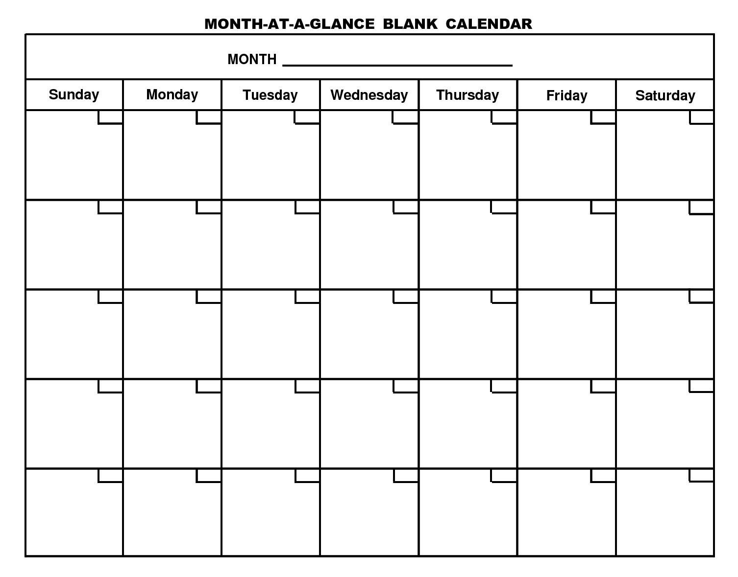 For Month At A Glance Blank Calendar Template - Free Calendar Collection  Free Printable Calendar Templates Month