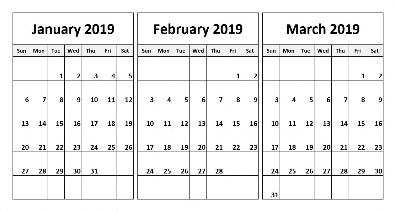 Free 2019 Three Month Printable Calendar Templates | Free Printable  3 Month Calendar Free Printable