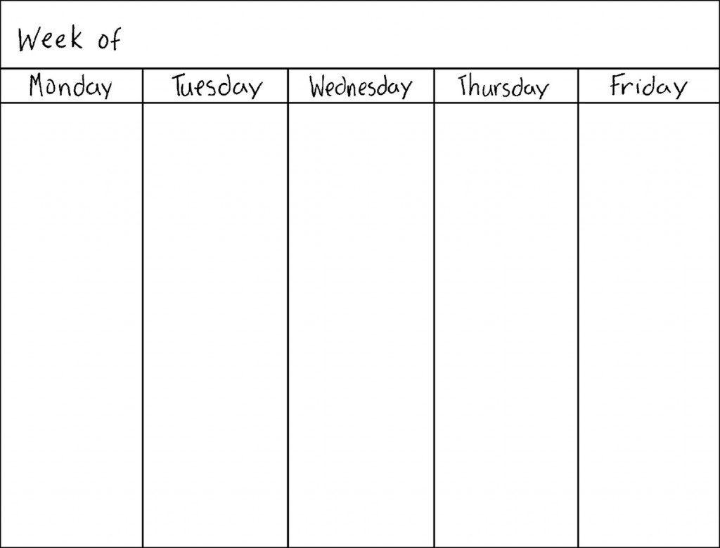 Free 5 Day Calendar Template | Printable Calendar Templates 2019  Printable 5 Day Monthly Calendar