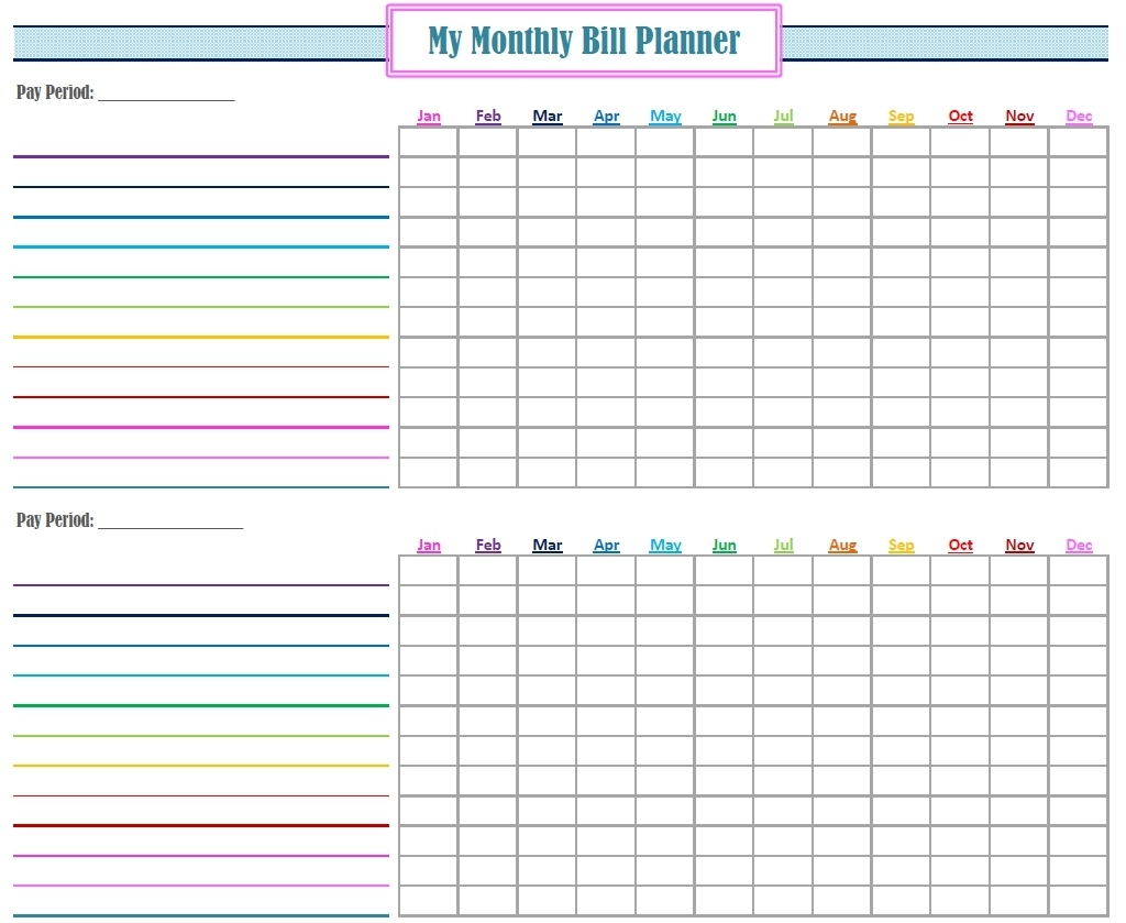 Free Bill Calendar | Printable Calendar Templates 2019  Blank Monthly Bills Calendar Printable