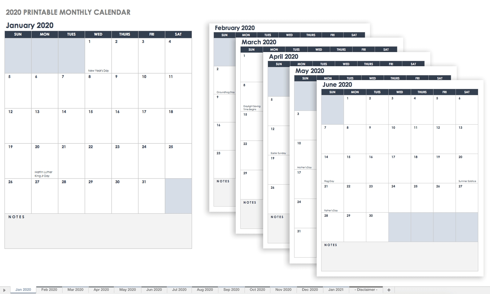Free Blank Calendar Templates - Smartsheet  Blank Monthly Calendar With Lines