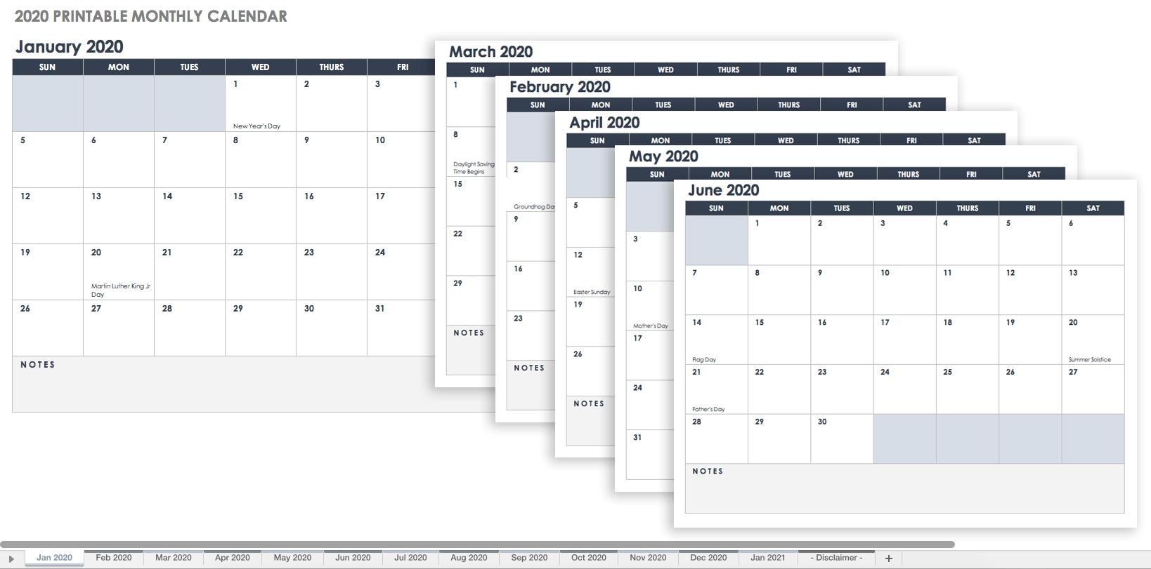 Free Blank Calendar Templates - Smartsheet  Printable Monthly Calendar With Lines
