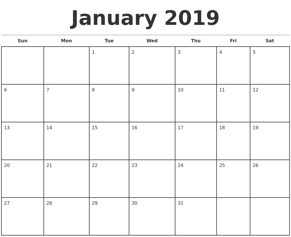Free Blank Printable Calendar 2019 | Printable Calendar Design  Free Blank Printable Monthly Calendar