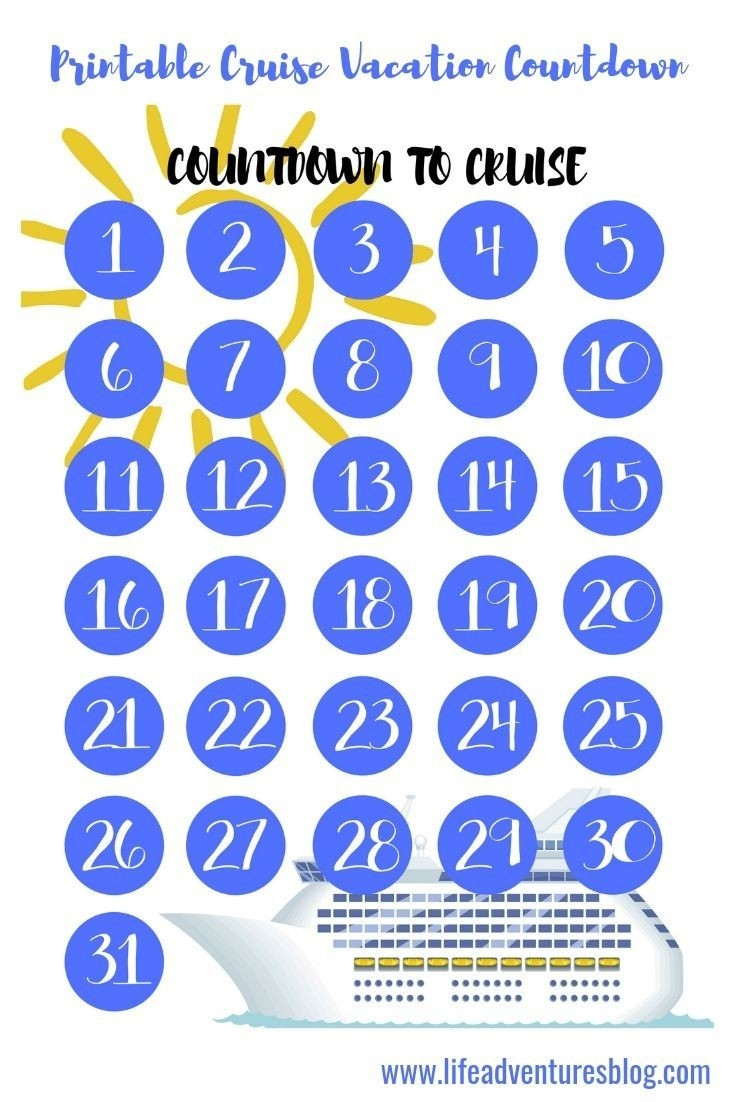 Free Cruise Vacation Countdown Calendar For Your Next Cruise  Free Printable Vacation Countdown Calendar