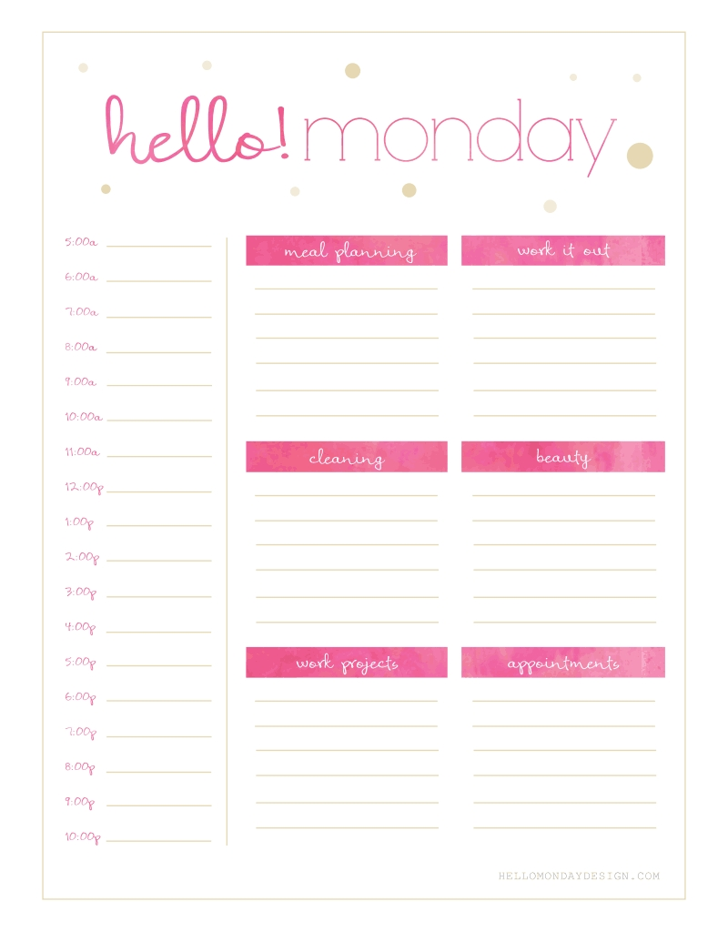 Free Hello {Monday - Sunday} Weekly Planner Printables | Filofax  Pweakley Planner Mon To Sunday