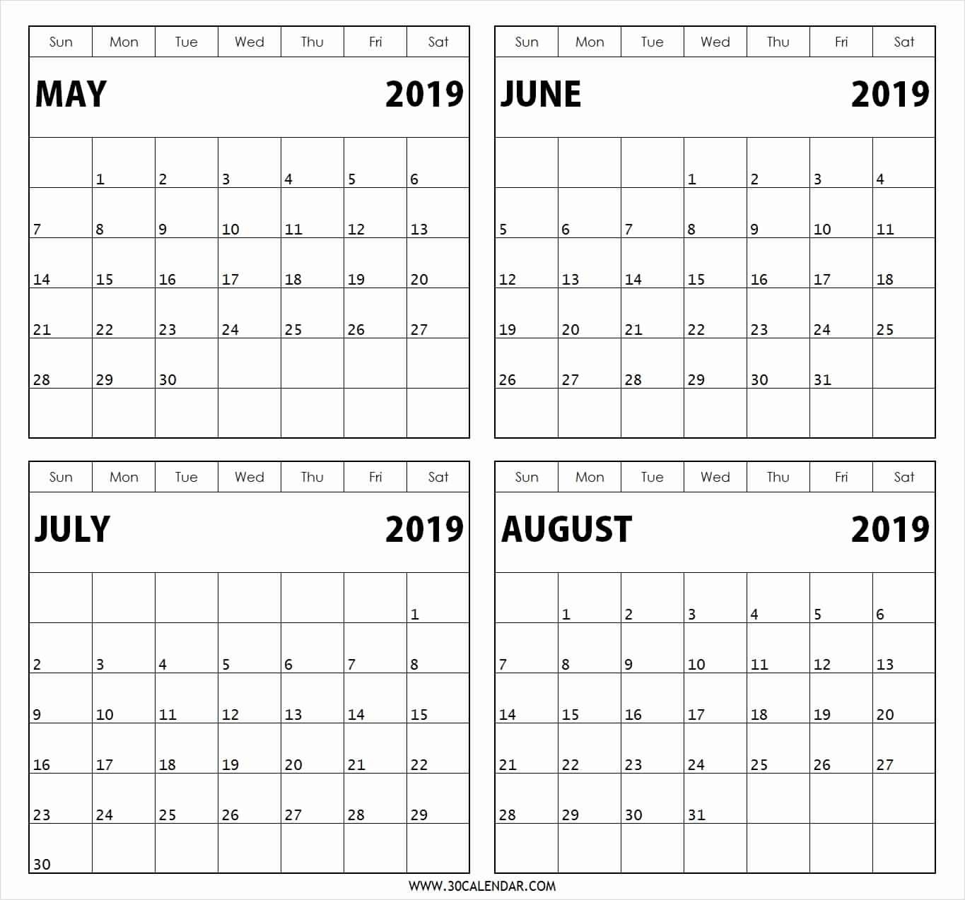 Free Printable Calendar 3 Months Per Page 2019 • Printable Blank  3 Month Calendar Free Printable