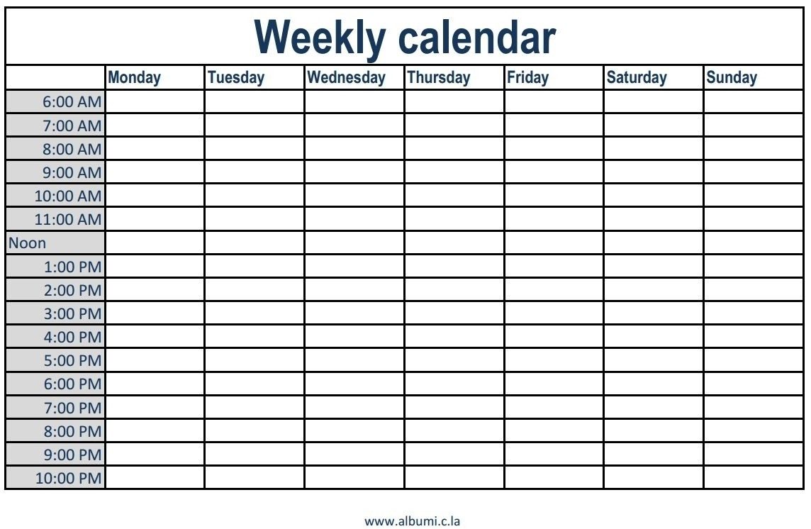 Free Printable Eekly Calendar Ith Time Slots Blank Monthly Template  Printable Calendars With Time Slots