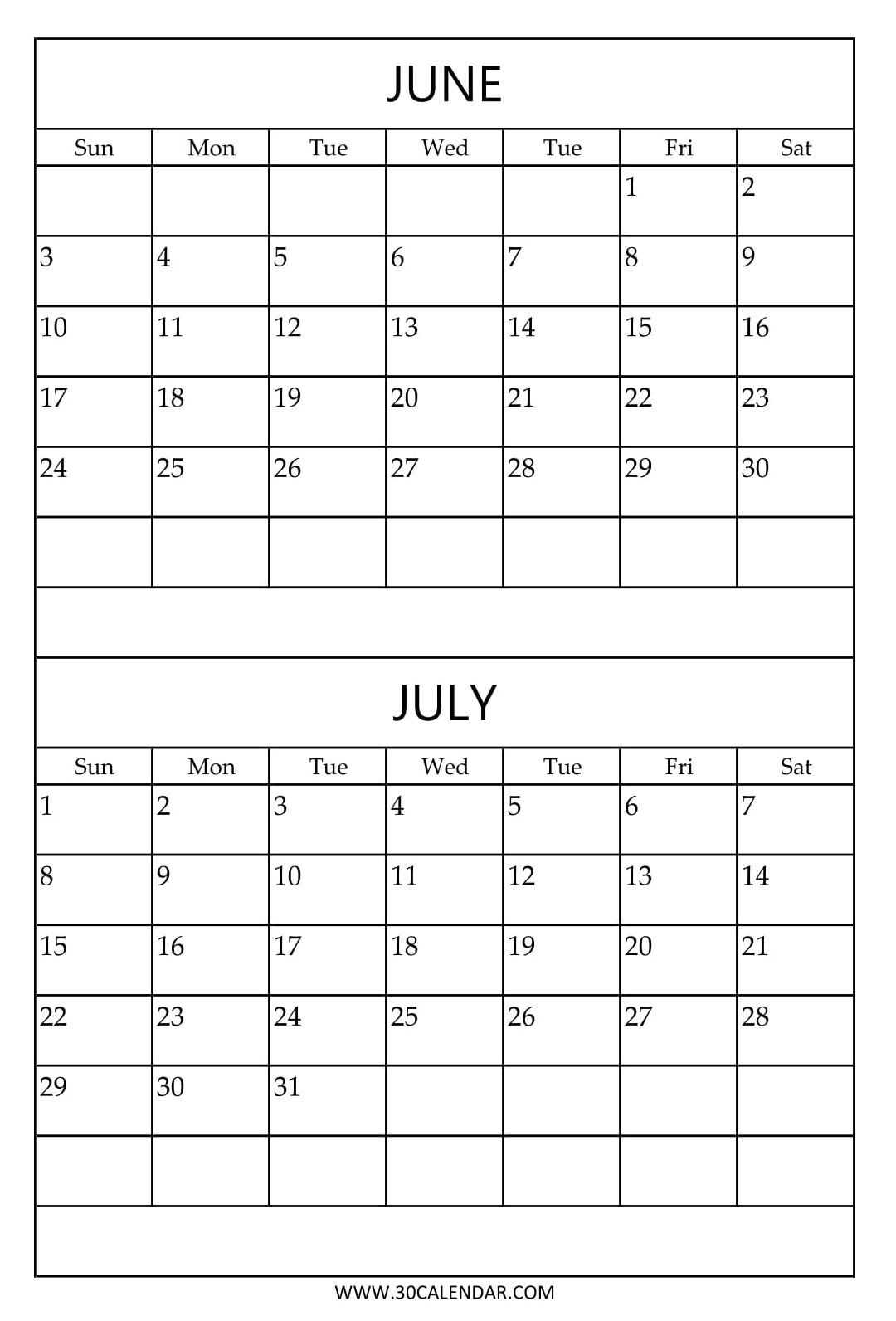 Free Printable June July Calendar Template | 2018 Calendar | July  Calendar For June July