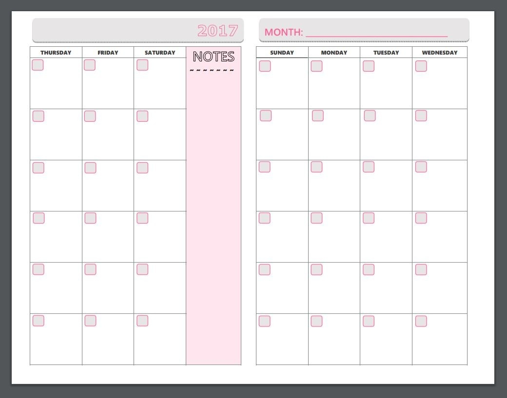 Free Printable Planner Pages - The Make Your Own Zone  Printable Monthly Organiser Pages Monday To Sunday