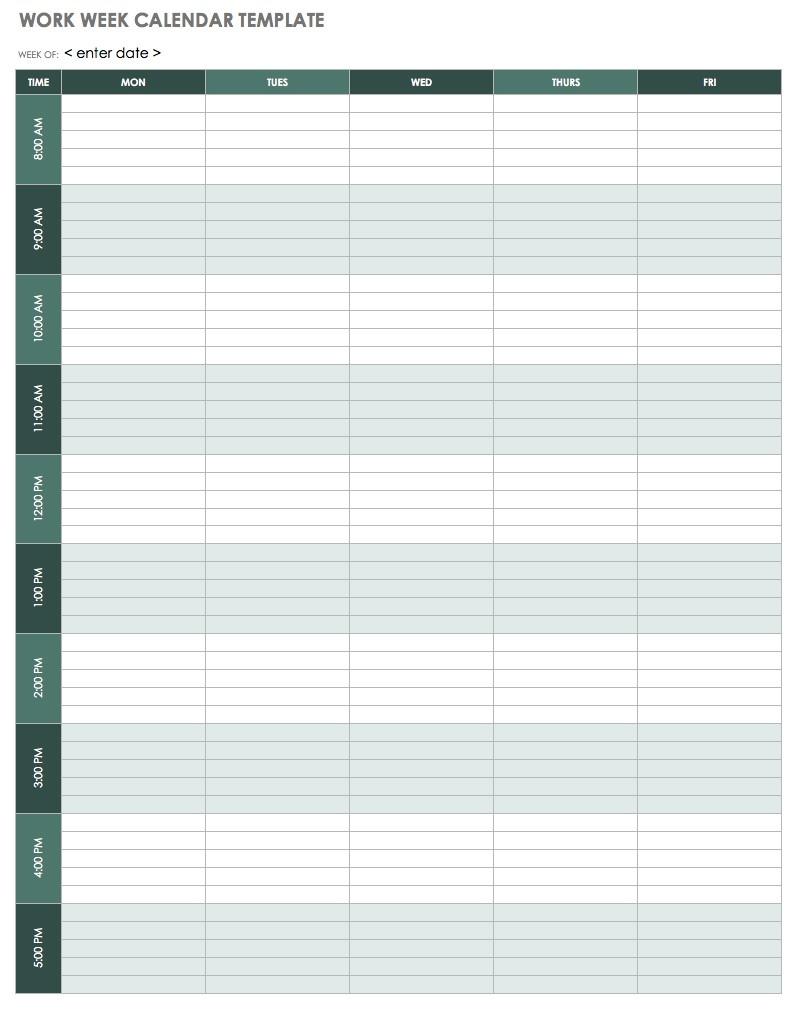 Free Weekly Calendar Templates Smartsheet Daily Monthly Er Printable  Free Weekly Calendar Templates Printable