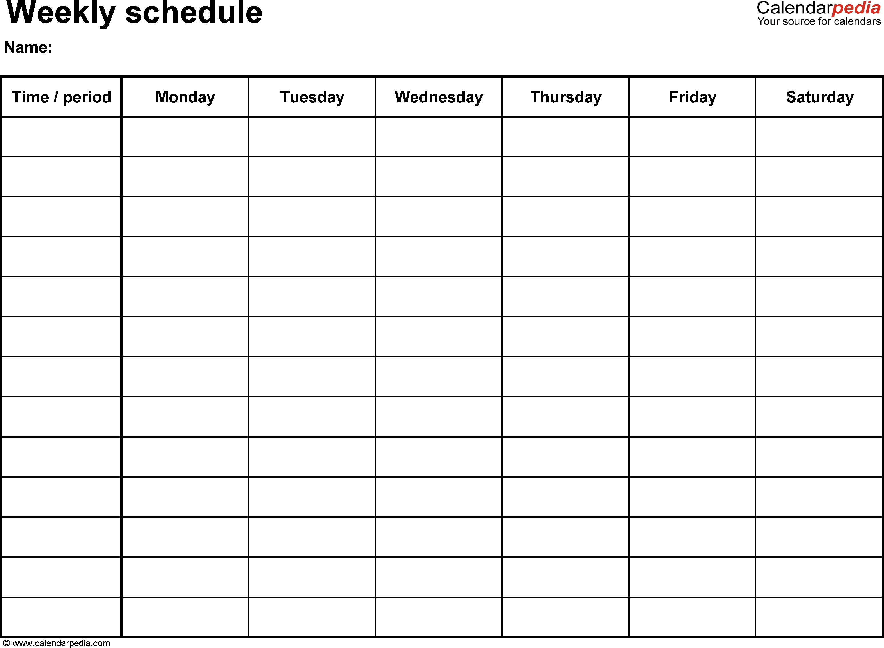 Free Weekly Schedule Templates For Excel - 18 Templates  One Week Daily Calendar Printable