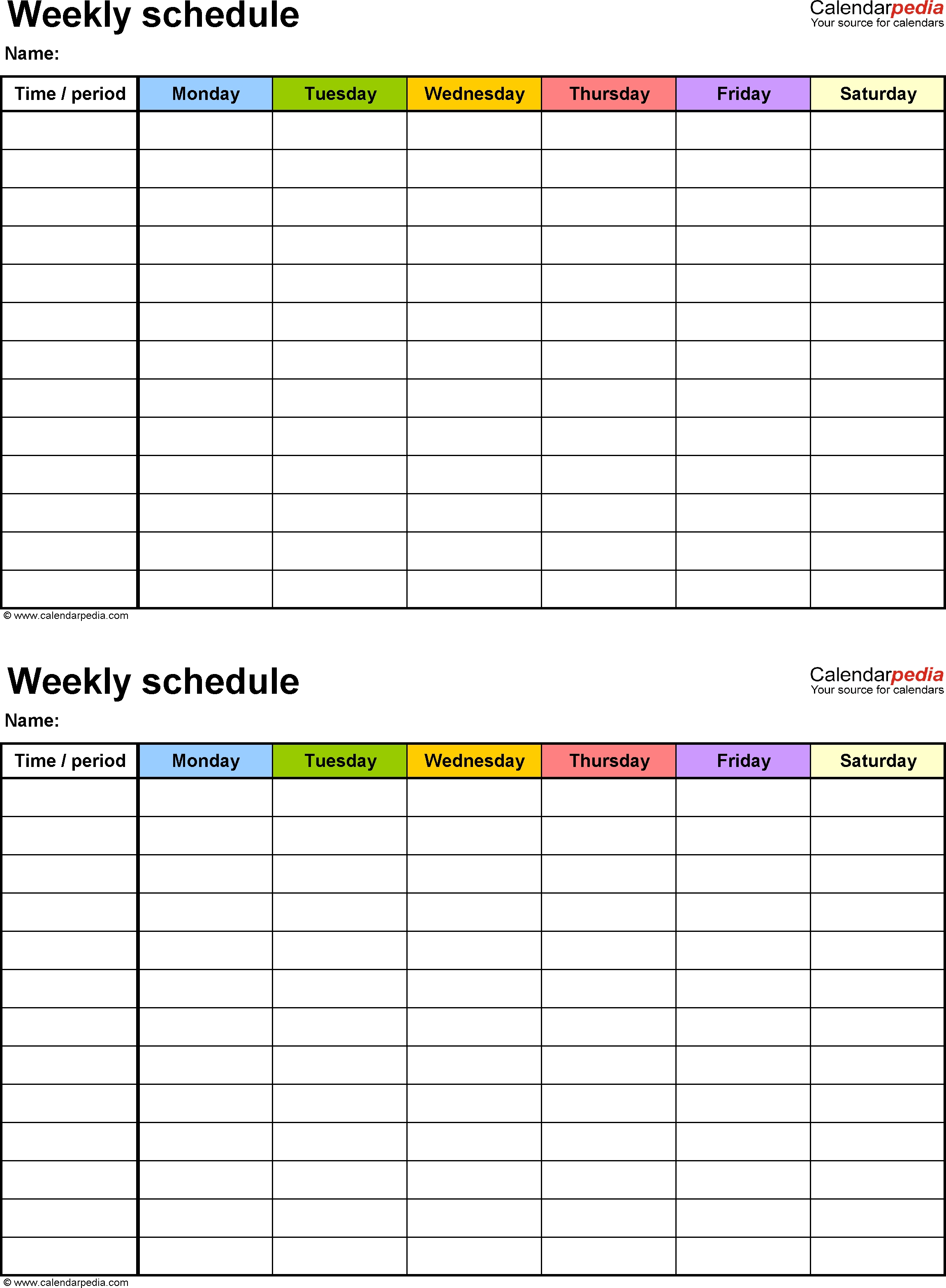 Free Weekly Schedule Templates For Word - 18 Templates  7 Days A Week Planner