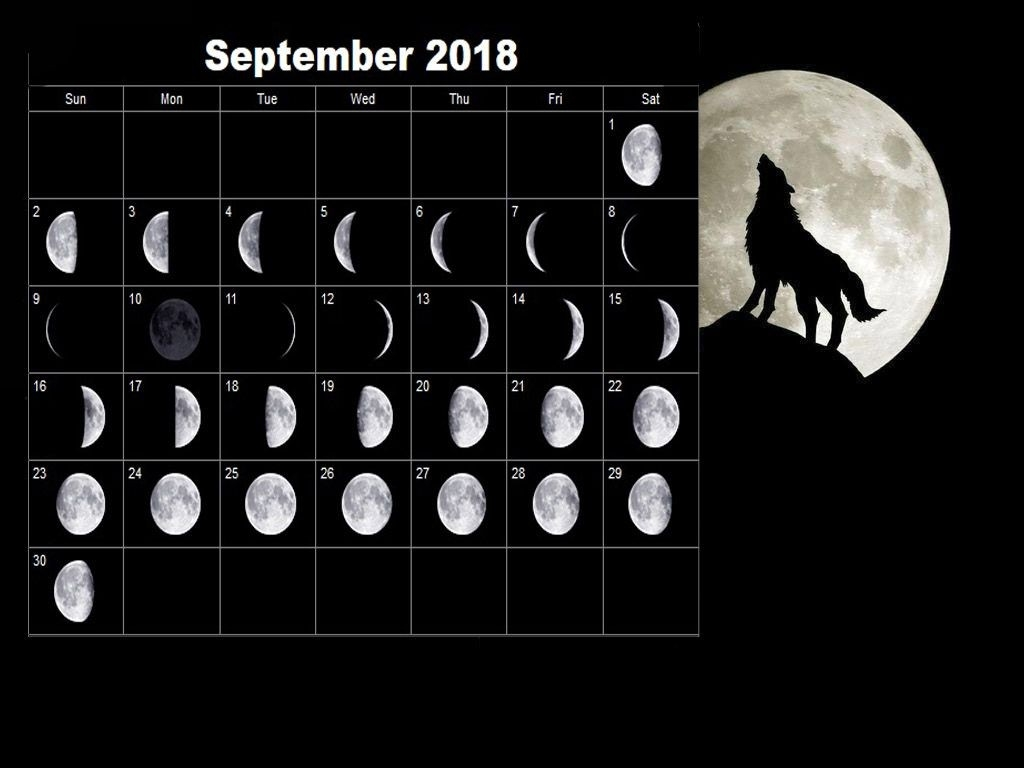 Full Moon Calendar September 2018 | Full Moon Calendar 2018 | Moon  Desktop Calendar With Lunar Cycle