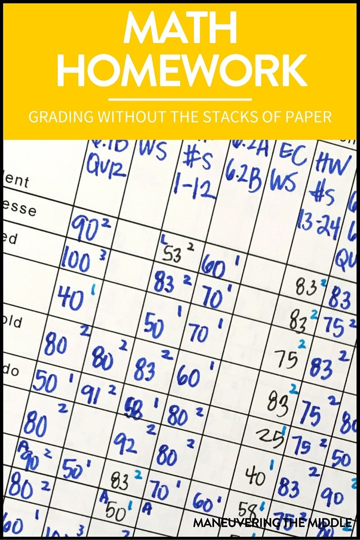 Grading Math Homework Made Easy - Maneuvering The Middle  Homework Agenda Template 7Th Grade