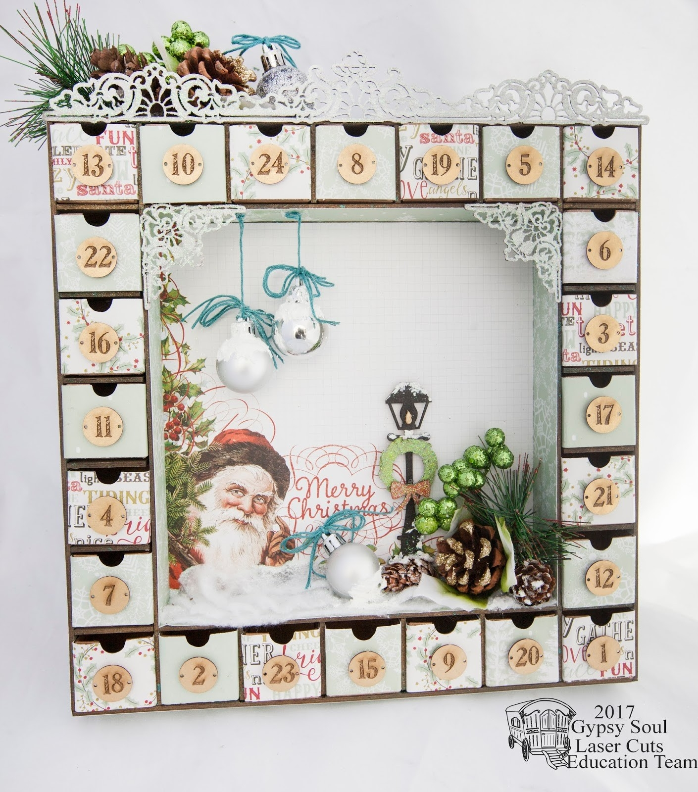 Gypsy Soul Laser Cuts: Advent Calendar With Alicia Barry  Wooden Shadow Box Advent Calendar