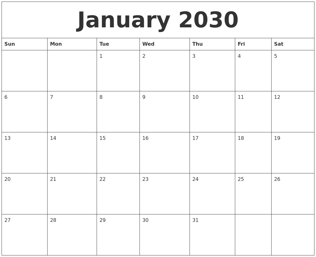 January 2030 Blank Monthly Calendar Template  Free Editable Monthly Calendar Template