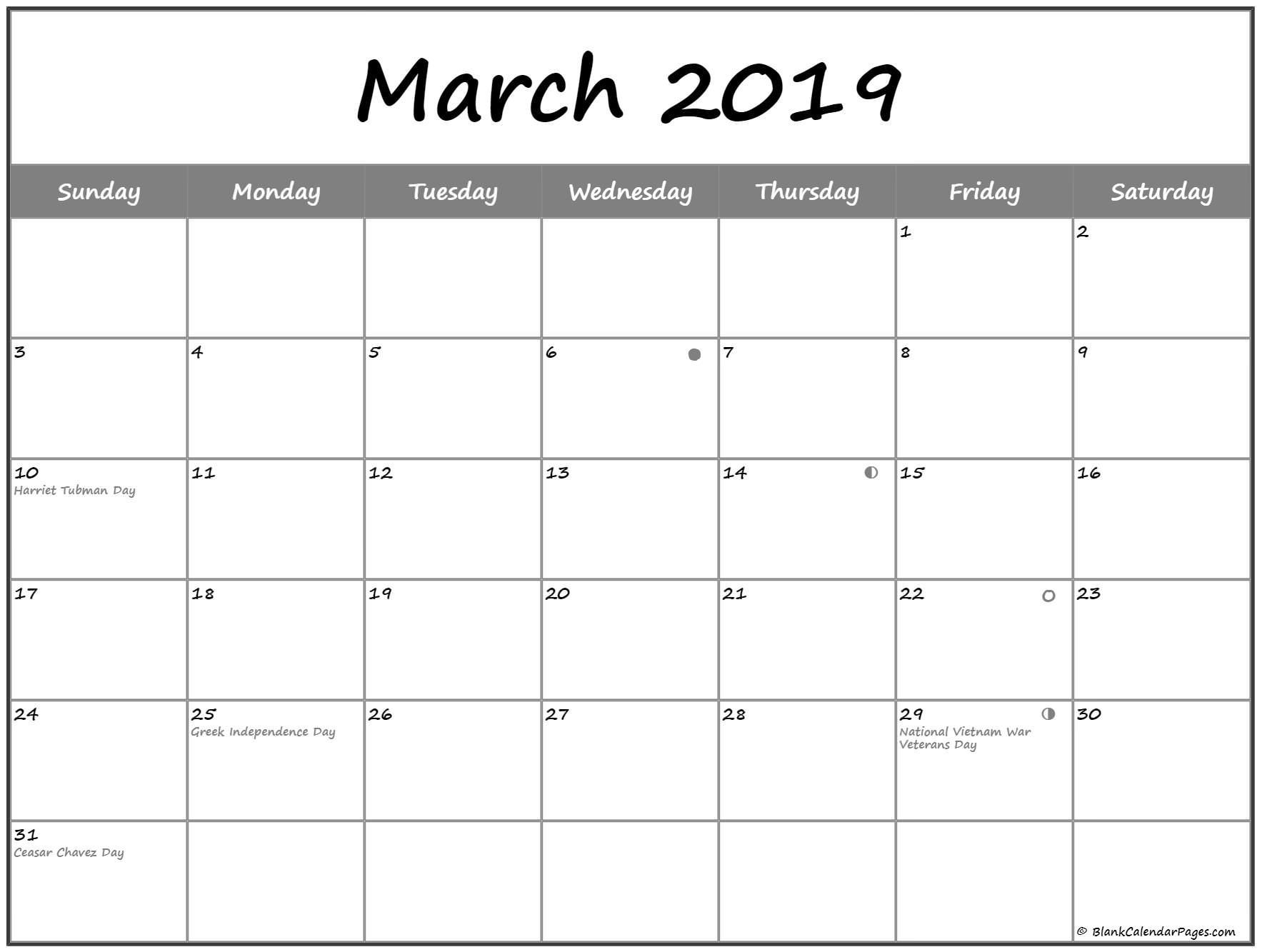 March 2019 Lunar Calendar Moon Phases | Free Monthly Calendar  Desktop Calendar With Lunar Cycle