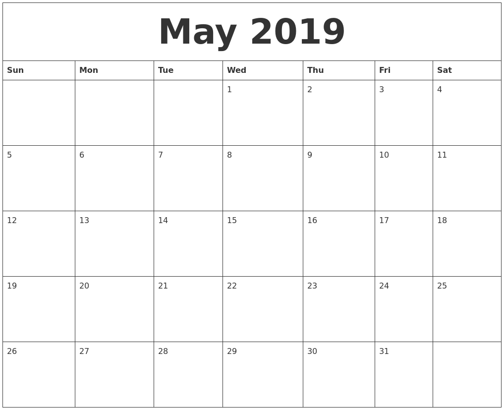May 2019 Blank Monthly Calendar Template  Blank Monthly Calendars To Print