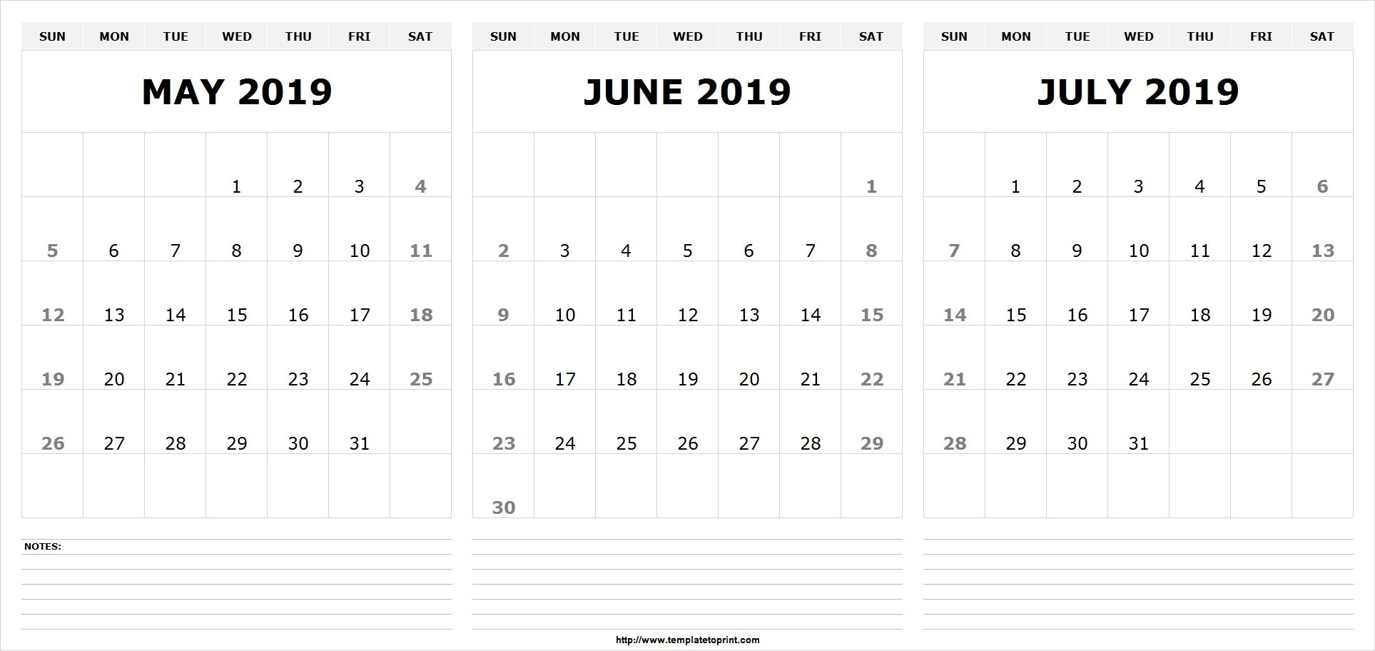 May June July 2019 Calendar (3 Months) Templates Printable – May  Calendar For June July