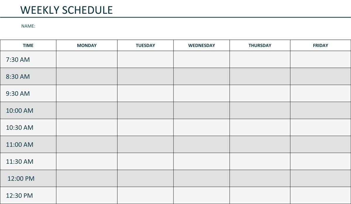 Monday – Sunday Weekly Schedule | Blank Calendar Template Weekly  Calendar Monday Through Friday Schedule