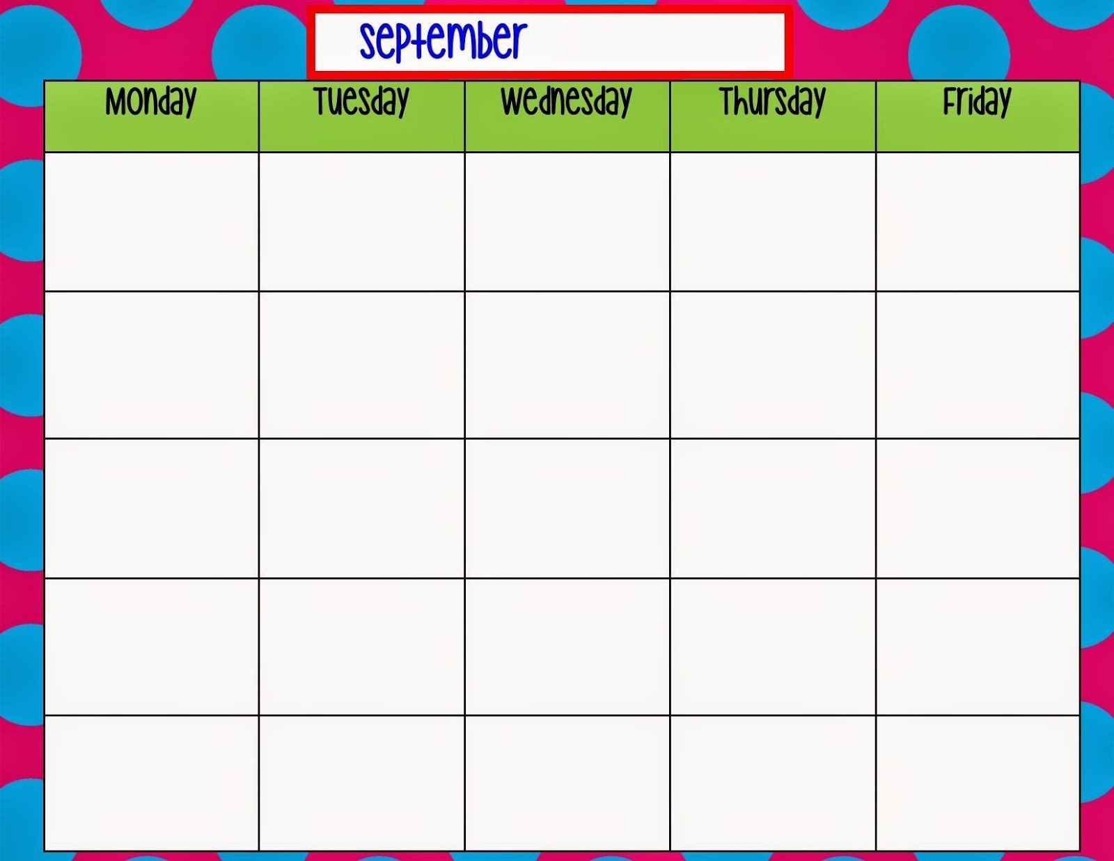 Monday Through Friday Calendar Template | Preschool | Weekly  Monday Through Friday Calendar Template