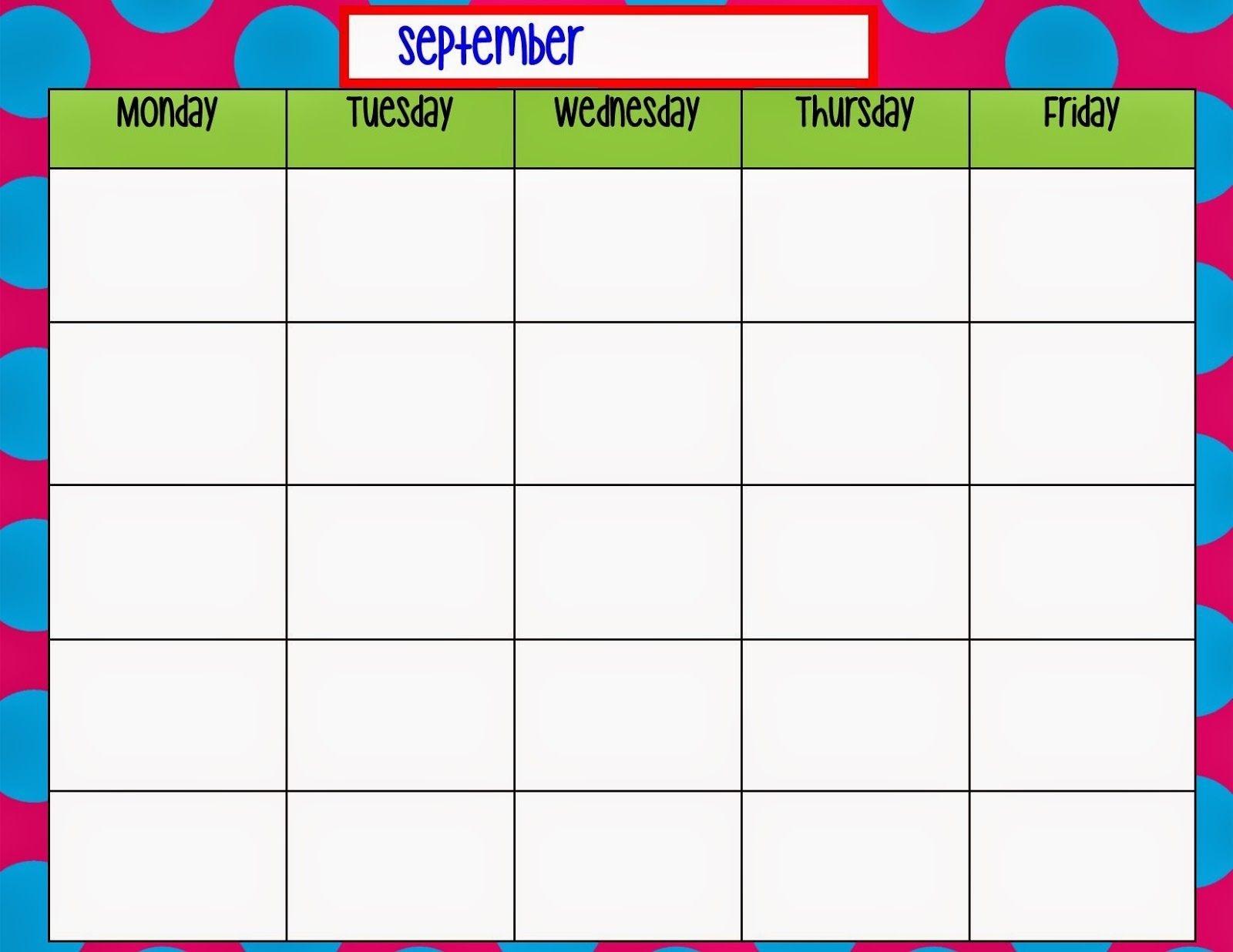 Monday Through Friday Calendar Template   Preschool   Weekly  Monday Through Friday Schedule Printable