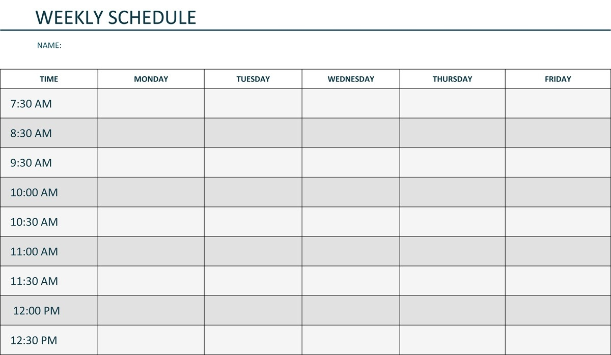 Monday Through Friday Printable Weekly Schedule | Hauck Mansion  Monday Through Friday Schedule Printable