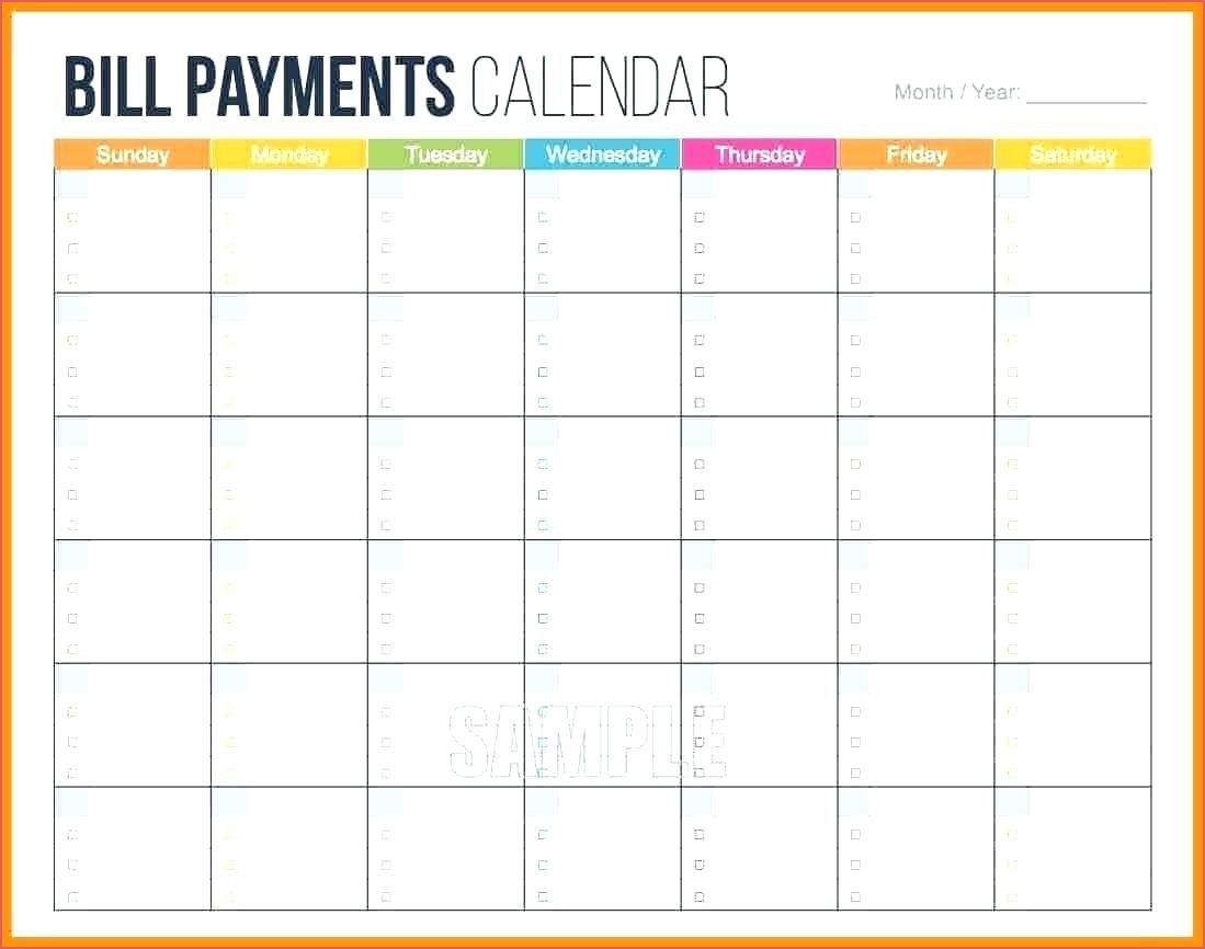 Monthly Bill Template Monthly Bill Calendar Printable  Blank Monthly Bills Calendar Printable