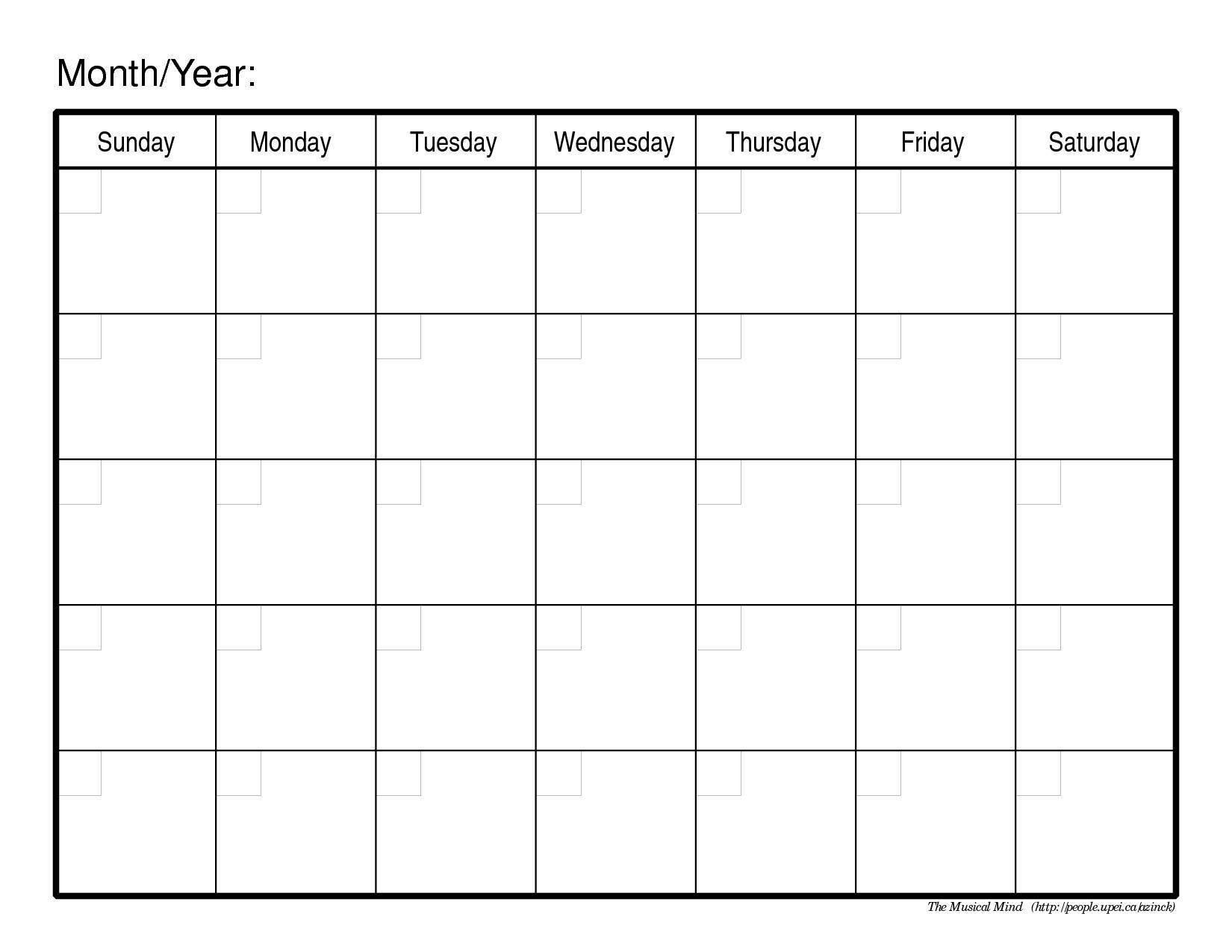 Monthly-Calendar-Template-Image 1 Month Calendar Printable Blank  1 Month Calendar Printable Blank