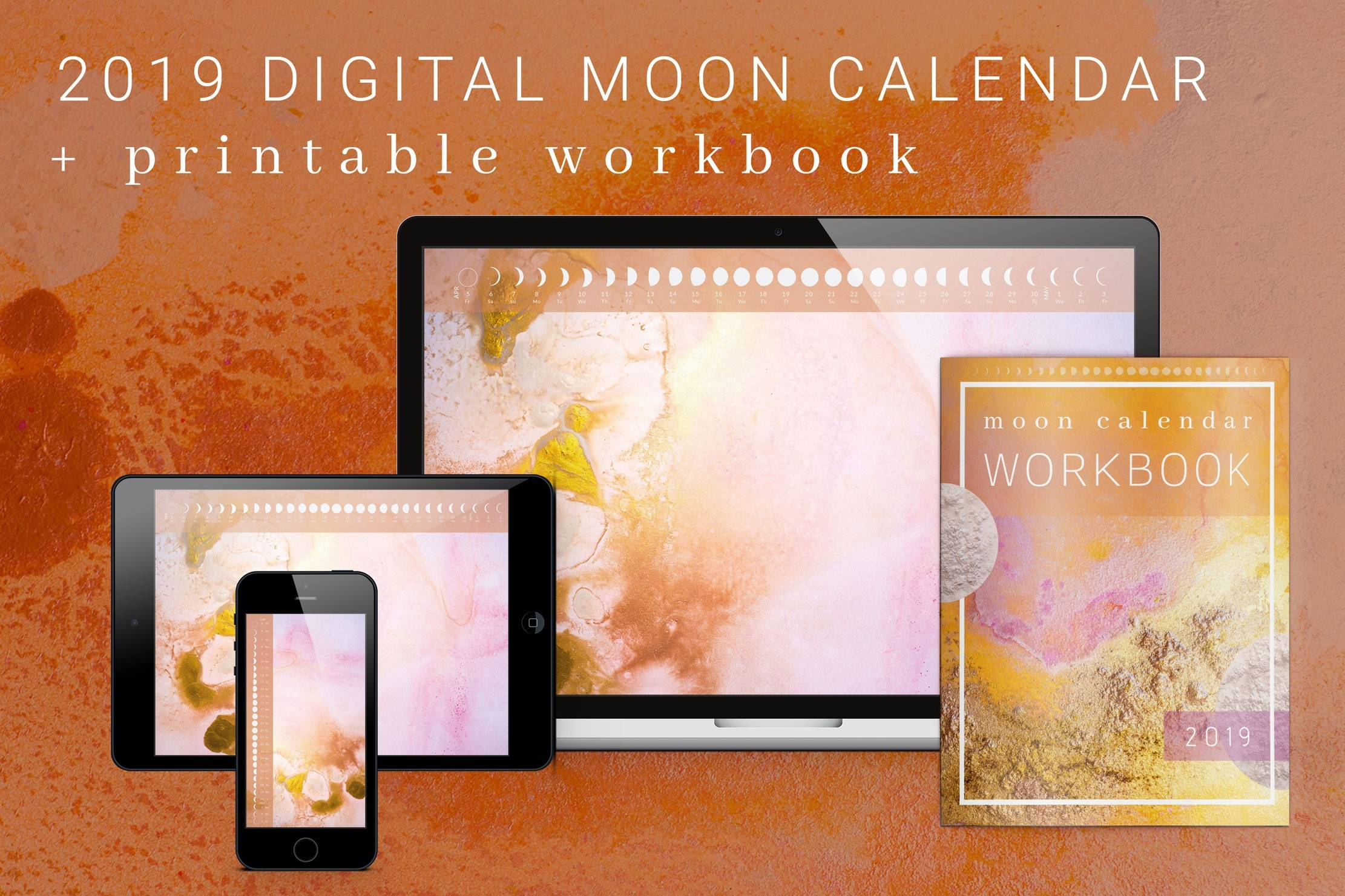 Moon Calendar - Dream Inspired Design  Desktop Calendar With Lunar Cycle