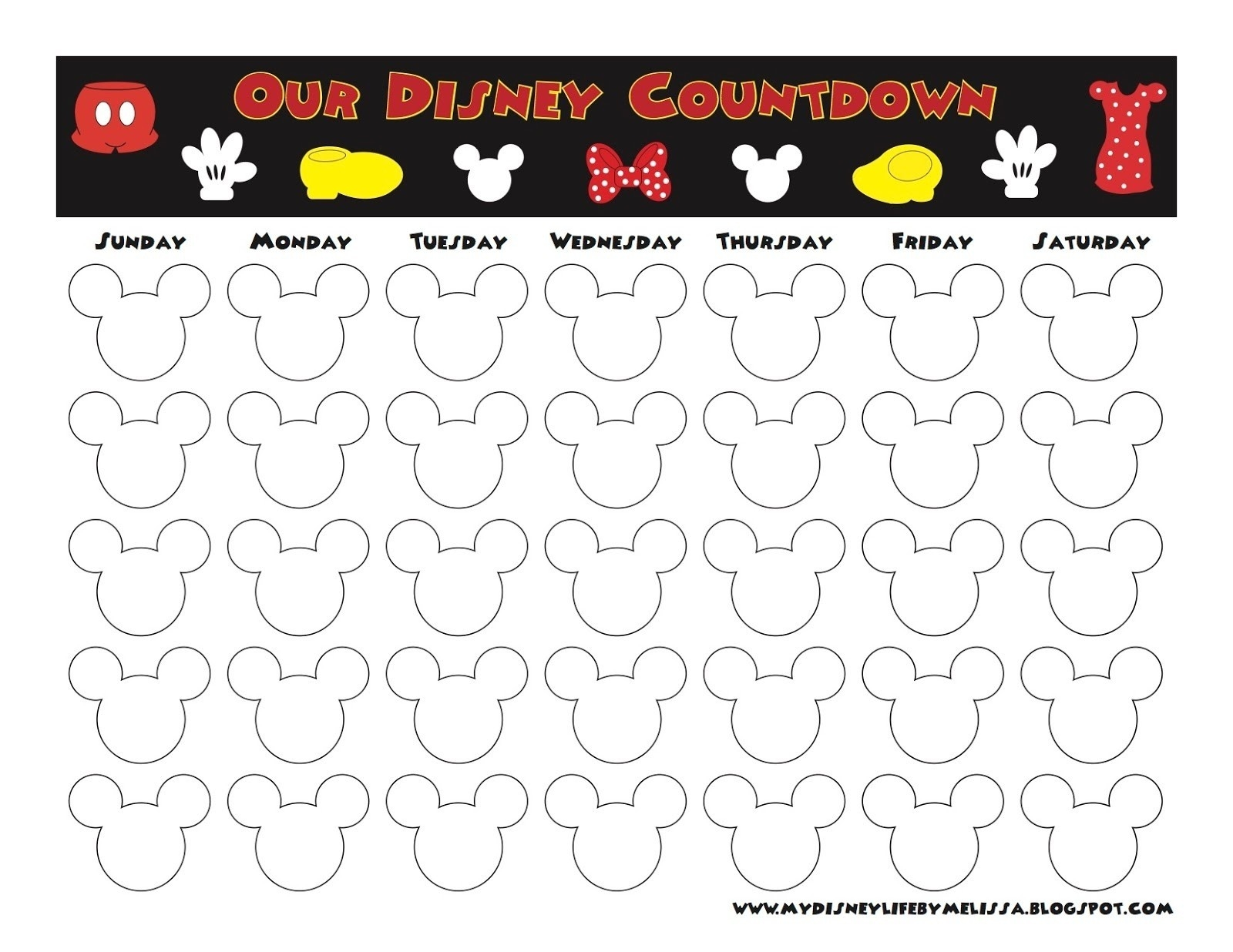 My Disney Life: Countdown Calendars Free Printable Vacation  Free Printable Vacation Countdown Calendar